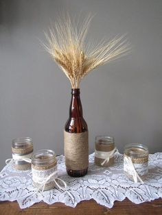 Rustic dried wheat and wine bottle centerpiece wrapped with twine - adds height and country charm to your table. Wine Bottle Centerpieces, Wooden Art, Country Charm, Twine, Rustic Wedding, Vintage Items, Restoration, Wedding Decorations, Paper