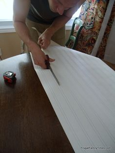 How to use and install paintable beadboard wallpaper. A step-by-step tutorial. A cheap and easy way to get the classic beadboard. This is a bathroom, but the look could work in a bedroom or living area. Great before and after of this affordable makeover! Wallpaper Cabinets, Backsplash Wallpaper, Paintable Wallpaper, Beadboard Backsplash, Bathroom Wallpaper, Kitchen Backsplash, Beadboard In Bathroom, Kitchen Island, Trendy Wallpaper