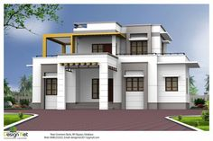 Exterior House Designs Ideas With Minimalist Style And Level Floors Also White Wall Color And Black Iron Fences Also Glass Windows And Blinds Also Wooden Doors Also Ladder And Roof Balcony Also Bricks Driveway And Green Garden Great Ideas For Exterior House Designs