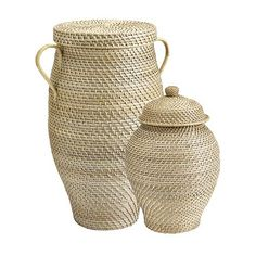 "Piper Woven Urn Baskets Large: 24 1/2""H X 18 3/4""W X 14""D w/23 3/4""H Interior"