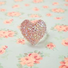 Kawaii Princess Lolita Hime Ring Iridescent Pink Heart Pave  from black tulip shop