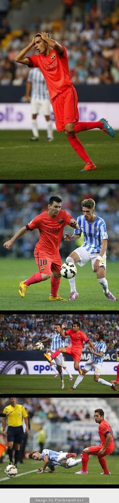 Bartra, Messi, Pedro and Alba during against Malaga, 24 September 2014