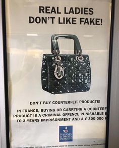 """""""Real ladies don't like fake"""" anti-counterfeiting poster spotted between the border of Geneva and Lyon 🇫🇷. What are your thoughts on the…"""