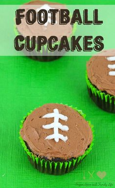 Football Cupcakes are the perfect football party dessert. The chocolate cupcakes with chocolate frosting are decorated to look like footballs. Everyone will love this chocolate dessert while watching the game or Superbowl.  - Football Chocolate Cupcakes Recipe on Sugar, Spice and Family Life