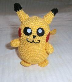 pokemon pikachu tejido a crochet con detalles en fieltro para ojitos y coloretes
