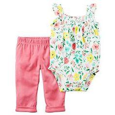 Baby Girl Carter's Floral Bodysuit & Pants Set