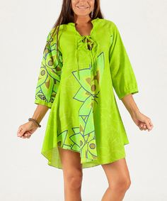 Another great find on #zulily! Lime Lotus Three-Quarter Sleeve Dress #zulilyfinds