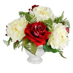 "Shop for Valentine's Day 14"" Red Rose & White Peony Faux Floral. Get free shipping at Overstock.com - Your Online Home Decor Outlet Store! Get 5% in rewards with Club O! - 18180914"