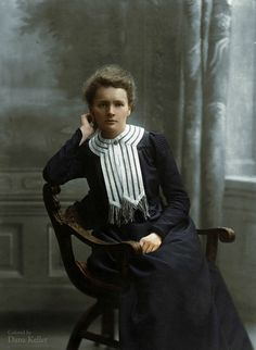 1905 portrait of Marie Curie (Polish) in a Colorized Photo, looking fierce, &10 (More) Gorgeous Colorized Photos that Put History In A New Light