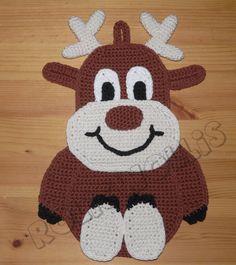 Crochet Patterns Dishcloth Wondie-the-reindeer crochet Christmas-crochet instructions potholder Crochet Crafts, Crochet Yarn, Yarn Crafts, Crochet Projects, Crochet Applique Patterns Free, Baby Knitting Patterns, Crochet Faces, Crochet Animals, Crochet Potholders