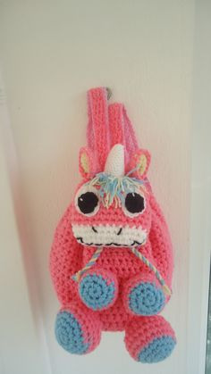 handmade crochet girls unicorn backbag textile lining adjustable straps bag made to order facebook/toucanbeanies
