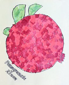 Paper Mosaic Kid's Collage Pomegranate for Sukkot activity/decor, totally deveolopmentally perfect & pretty Jewish Crafts, Jewish Art, Holiday Activities, Holiday Crafts, Bible Crafts, Paper Crafts, Diy Paper, Tissue Paper, Kids Collage