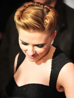 A retro updo is seen on Scarlett Johansson at the 'We Bought a Zoo' premiere at Ziegfeld Theater.