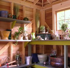 garden shed interior - really makes me want to get on it and clean out and pretty up the shed out back.