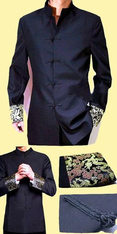 Modernised Mao Suit w/ Brocade Cuffs (RM) Chinese Suit, Chinese Style, Japan Fashion, Mens Fashion, Fashion Outfits, African Wear Styles For Men, Shirt Collar Styles, Manga Clothes, Diy Vetement