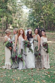vintage rustic _ love the bouquets, and the bridesmaid dresses