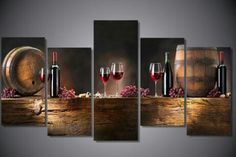 5 Pieces wine Print Canvas Painting Wall Art Home Decoration 5 Piece Canvas Art, Canvas Wall Art, Wall Art Prints, Painting Canvas, Canvas Prints, Canvas Size, Canvas 5, Wall Paintings, Canvas Frame