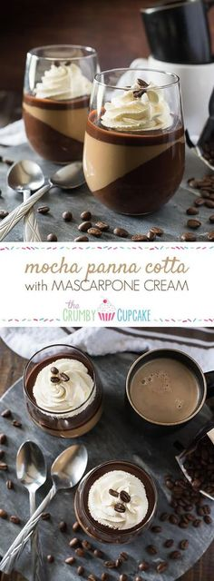 Mocha Panna Cotta with Mascarpone Cream - Layer upon layer of chocolate, coffee, and cream makes for one rich, delicious java dessert that you'll want to share with everyone! (Chocolate Mousse For One) Mini Desserts, Easy Desserts, Delicious Desserts, Yummy Food, Plated Desserts, Baking Desserts, Café Chocolate, Chocolate Desserts, Delicious Chocolate