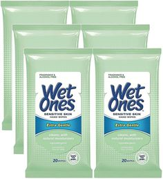 Wet Ones Sensitive Skin Hands Face Wipes, 20 Count Travel Pack (Pack of 6) -- This is an Amazon Affiliate link. Be sure to check out this awesome product.