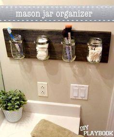 Mason Jar organizer #mason #jar #country