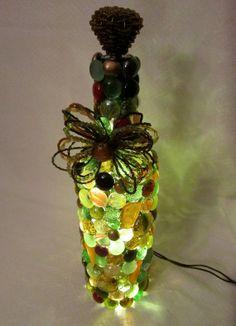 Wine bottle lamp  green brown yellow and orange by EyeWantIT, $42.00