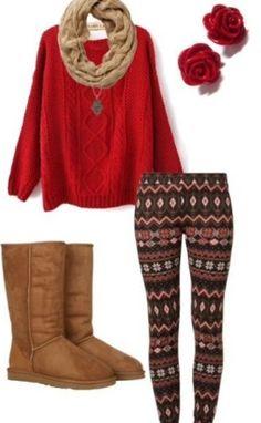 red with aztec leggins♥️