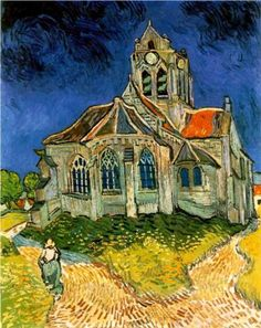 The Church at Auvers - Vincent van Gogh- He had a lifetime output of over six hundred works of art; not bad for a certified loon.  Not one of them was a waste of art supplies; not a single one. For the whovians, I would just like to point out the lack if a monster in the window...