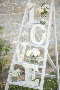 Love Letters displayed on an old painted ladder!!! Bebe'!!! Love this!!!