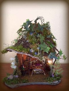 fairy house - I would love to make one of these with Bridget and put it in our garden Fairy Garden Houses, Gnome Garden, Fairies Garden, Fairy Dust, Fairy Land, Wood Animals, Gnome House, Love Fairy, Fairy Doors