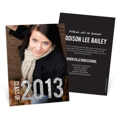 Glam Grad Vertical Photo -- College Graduation Announcements; this would be great with our class photo!