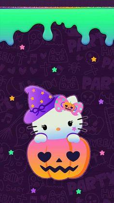 Hello Kitty Iphone Wallpaper, Hello Kitty Backgrounds, Halloween Wallpaper Iphone, Wallpaper Iphone Disney, Fall Wallpaper, Wallpaper Stickers, Hello Kitty Halloween, Kawaii Halloween, Hello Kitty Birthday