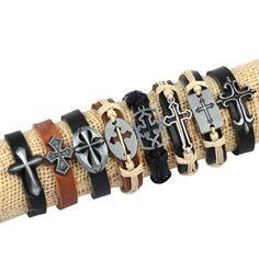 8pcs Mix Cross Charm Hemp Genuine Leather Bracelet & Bangle for Women Wristband Bracelet Men Jewelry