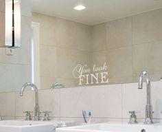 Fine veggord - Perfekt i frosted folie på speilet! Half Baths, Amazing Bathrooms, Bathroom Inspiration, Wall Sticker, Bath Ideas, Bathroom Ideas, Cool Stuff, Laundry, Decor Ideas