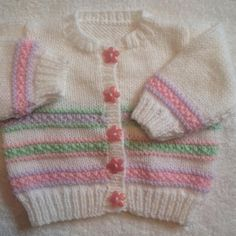 Ravelry: Pastel stripes baby cardigan pattern by Mary Edwards Baby Sweater Patterns, Baby Cardigan Knitting Pattern, Knit Baby Sweaters, Crochet Cardigan, Girls Sweaters, Baby Knitting Patterns, Baby Patterns, Lace Cardigan, Crochet Pattern