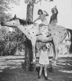 Pippi Langstrømpe, the strongest kid, carrying her horse and her 2 mates. Photo, black and white, dear childhood memories.