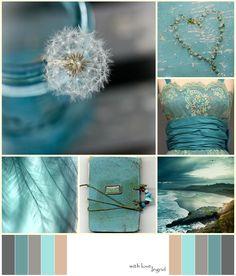 turquoise as accents Colour Schemes, Color Combos, Color Patterns, Color Concept, Color Collage, Mood Colors, Beautiful Collage, Jolie Photo, Colour Board