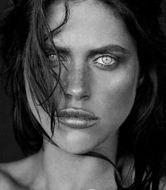 Zoe Duchesne ~wow! Such intense yet beautiful eyes...amazing that they glow & stand out in black & white this way