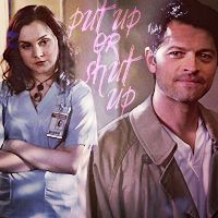 Castiel: Will you look at her? My caretaker. All of that thorny pain. So beautiful. Meg: We've been over this. I don't like poetry. Put up or shut up.