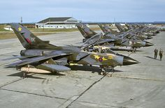 A view of the RAF line at CFB Goose Bay, Labrador, on a sunny day. The aircraft were drawn from several units.