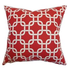 """This accent pillow comes with a stunning lipstick red and natural color palette. This contemporary pillow features a geometric print pattern which adds dimension to your living space. This down-filled square pillow comes with an ideal size which suits many furniture. Accentuate your sofa, bed or sectionals with this 18"""" pillow, which is made from 100% soft cotton fabric. $55.00 #redpillow #homedecor #tosspillow #interiorstyling"""