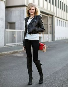 leather jacket pants white sweater with long boots