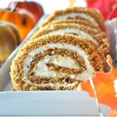 Pumpkin Roll with Cream Cheese Filling - Make these every fall....getting the craving for one now...yum
