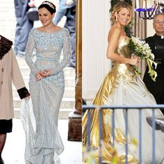 Blair and Sarina's Gossip Girl wedding gowns. Blair's ice blue gown is by Elli Saab and Sarina's edgy gold strapless by Georges Chakra.
