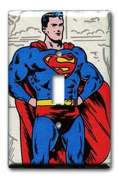 Superman DC Comics 1970's Vintage Wallpaper Switch Plate by Fondue,
