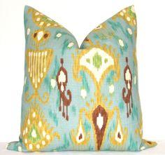 Pillow Cover - Decorative Pillow - Throw Pillow - Toss Pillow - Sofa Pillow - Ikat Print - 16x16 inch - Blue - Green - Chartreuse - Brown. $39.00, via Etsy.
