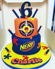 Boy Birthday Cakes, 5th Birthday Boys, Nerf Birthday Party, Nerf Party, Ninja Party, Birthday Ideas, Nerf Gun Cake, Gun Cakes, Family Birthdays