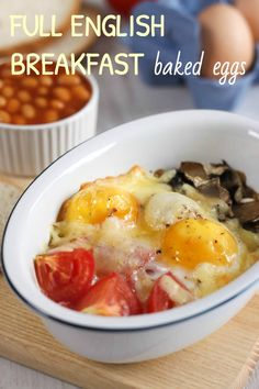 Full English breakfast baked eggs - a healthier version of a traditional British fry up, with all the same flavour!