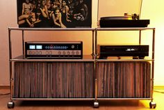 Retro Record Player, Diy Rack, Vinyl Record Storage, Audio Room, Floating, Hifi Audio, Audiophile, Mid Century Design, My Living Room