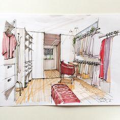 カラフル苦手症改善の為に、今日は練習。色を入れてもアニメチックにならないように。味のある線が描けるようになりたいな〜(´・_・`) #建築パース #内観パース #手描きパース #ラフスケッチ #copic #ArchiSketcher #sketch_arq #arqsketch #beautyroom #closet