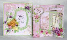 komplet ślubny: kartka składak w pudełeczku